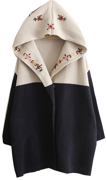 Navy Hooded Long Sleeve Tribal Embroidery Sweater Coat - Sheinside.com