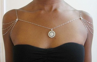 jewels chain body chain sun necklace sunflower