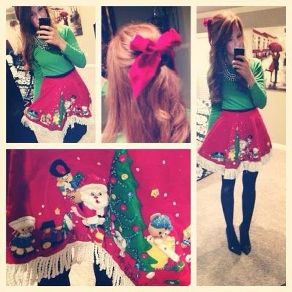party skirt ugly christmas sweater christmas sweater christmas festive party dress red green fun