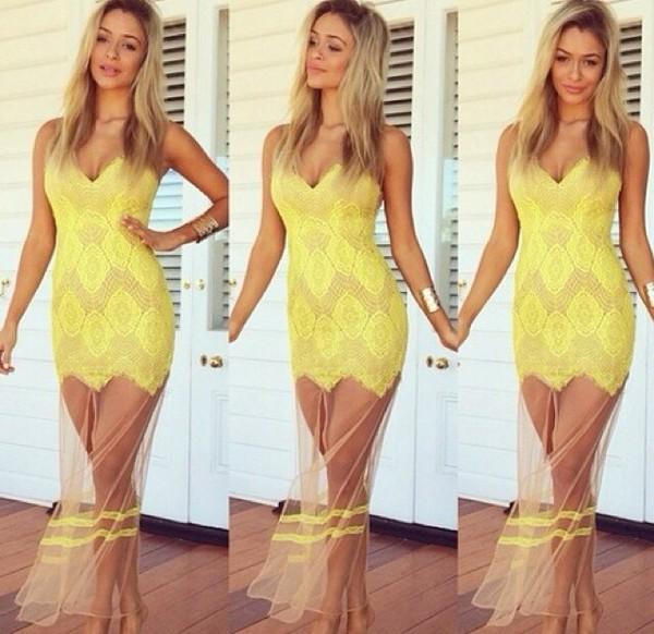 yellow dress floral dress love more dress shear less summer dress lace dress maxi dress prom dress yellow lace see through www.ebonylace.net summer beach