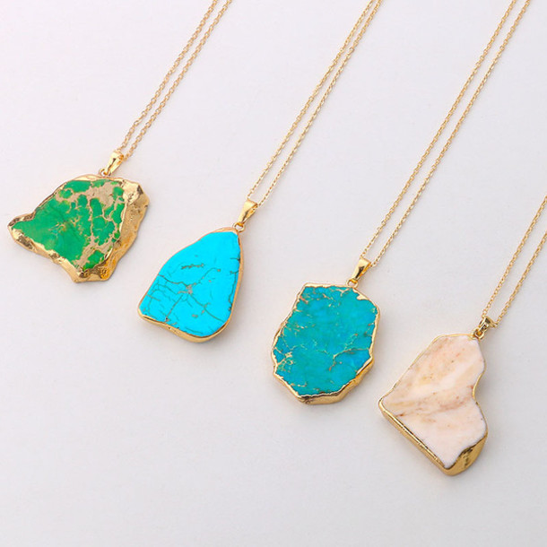 jewels necklace plunge v neck gold turquoise jewelry blue