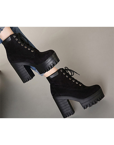 Winter high chunky boots black brown ankle platform heel heels