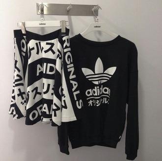 top black and white japanese fashion originals t shirt with words skirt sweater urban adidas japanese writing chinese writing