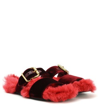 velvet sandals fur sandals velvet pink shoes