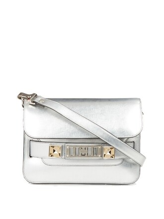 mini metallic bag shoulder bag leather silver