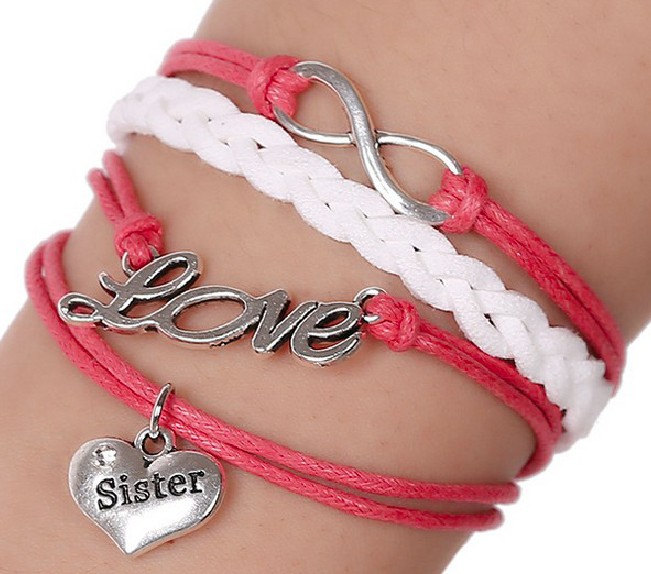 Lucky Red Leather Antique Silver Braided Bracelets with Sister Charm for Birthday Gift--Cheap Wholesale