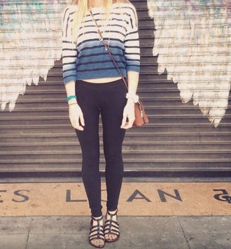 sweater jumper ombre stripes crop cropped blue black navy white long sleeves