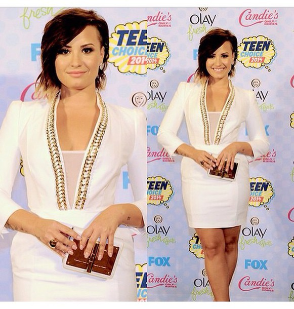 demi lovato white dress dress