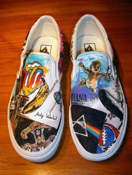 nirvana guns and roses shoes vans of the wall vans vans era