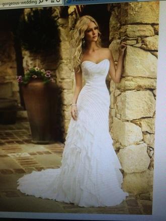 dress white wedding dress strappless beautiful
