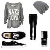 t-shirt,grey,make love,loose,hat,jeans,beautymanifesto,shoes,shirt,grey beanie,grey long sleeve,oversized t-shirt,vans,beanie,chanel,sweater,blogger,pants,black,grey sweater,grey shirt,quote on it,blouse,where to get everything ?!?,long sleeves,top,gris,haut