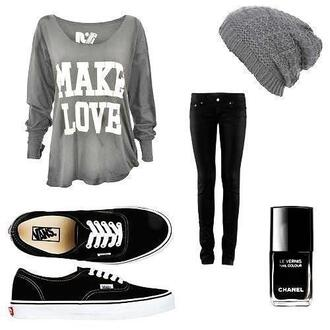 t-shirt gray make love loose hat jeans beautymanifesto shoes sweater blogger grey beanie vans beanie grey black blouse where to get everything ?!? shirt long sleeves quote on it top gris haut