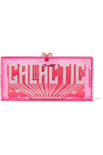 embellished clutch pink bright bag