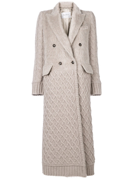 Max Mara coat double breasted women spandex nude wool