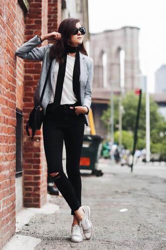 style scrapbook blogger jacket jeans shoes bag sunglasses