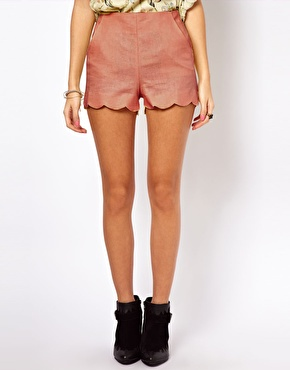 ASOS | ASOS Shorts in Linen with Scallop Hem at ASOS