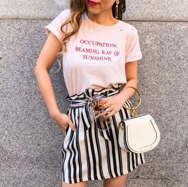 t-shirt blogger blogger style skirt striped skirt mini bag earrings slogan t shirt