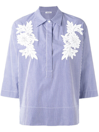 shirt embroidered women cotton blue top
