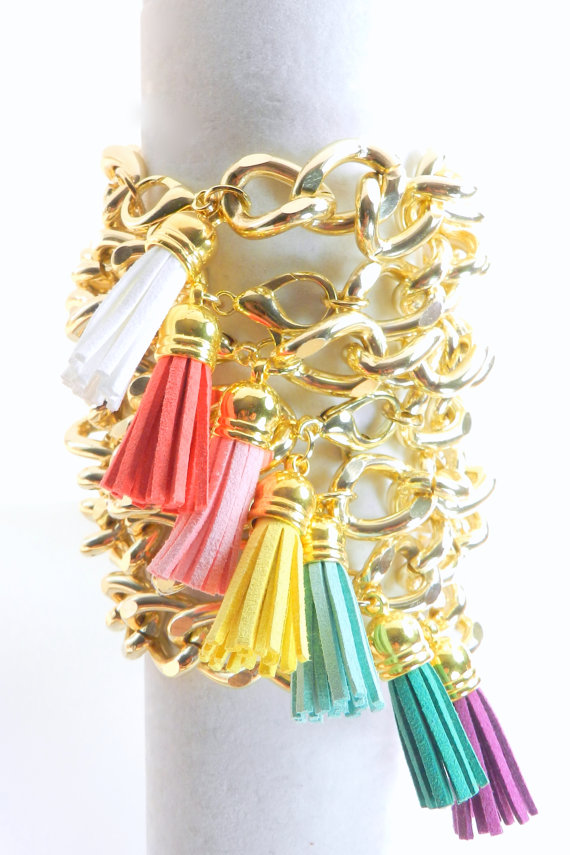 Tassel bracelet by BipAndBop on Etsy