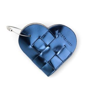 home accessory metallic metallic bag keychain blue heart