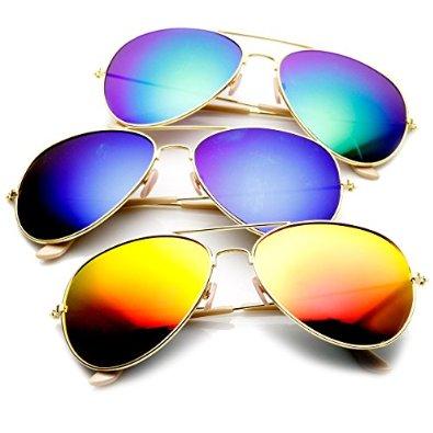 011b9ab6ef8c Amazon.com  Premium Full Mirrored Aviator Sunglasses w  Flash ...