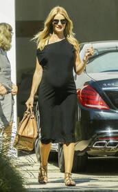 dress,midi dress,maternity,rosie huntington-whiteley,sandals,black dress