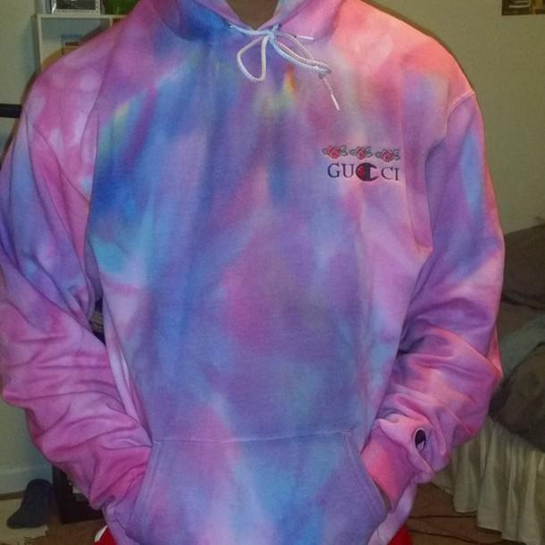 d1ae4bbacc7b jacket, champion, champion hoodie, tie dye, tie dye shirt, gucci ...