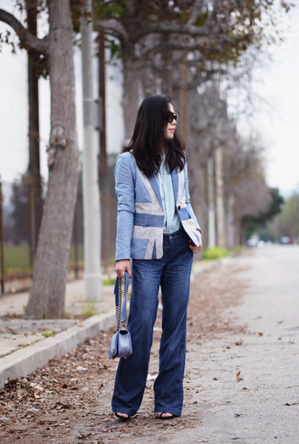 hallie daily blogger jeans blazer light blue blue jacket