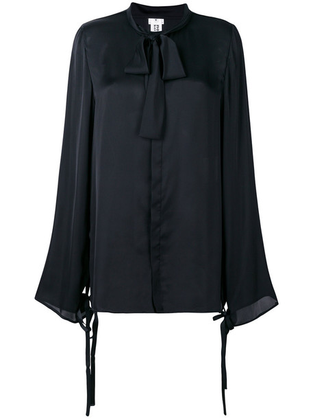 Comme Des Garçons Noir Kei Ninomiya - pussybow blouse - women - Polyester - XS, Black, Polyester
