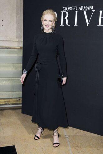 dress black dress midi dress sandals nicole kidman fashion week 2017 fashion week