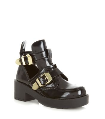 Black Chunky Cut Out Buckle Ankle Boots