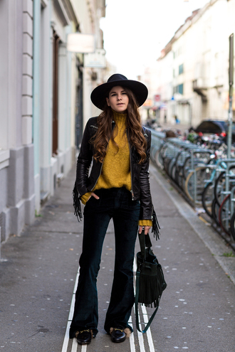 the fashion fraction blogger fringed jacket mustard sweater 70s style black pants boho jacket mustard leather jacket black leather jacket black jacket black hat black bag flare pants velvet pants velvet flare velvet pants black velvet pants