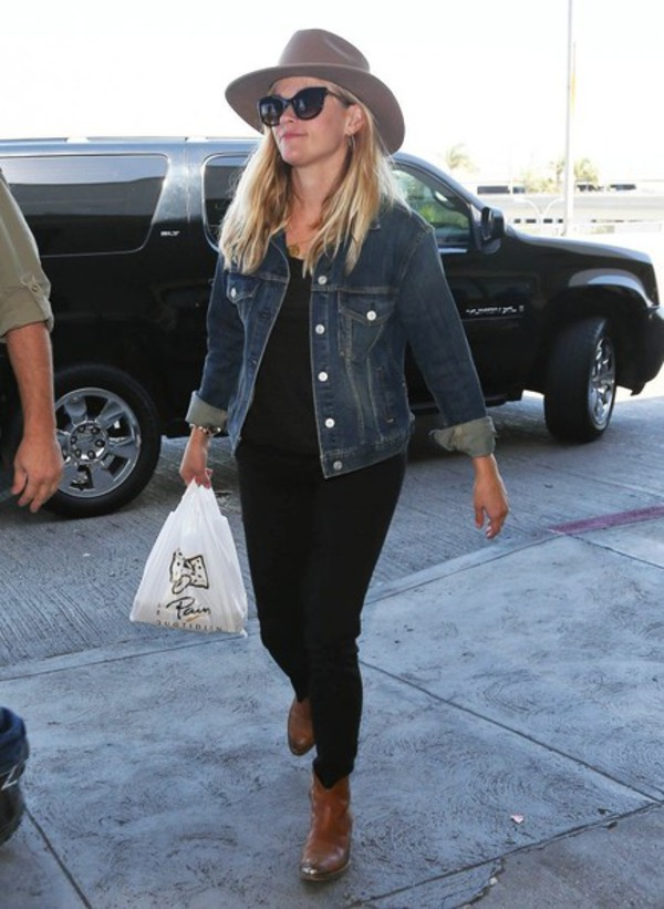 jeans pants reese witherspoon jacket denim jacket leggings jeggings hat brown leather boots celebrity cowboy style sunglasses