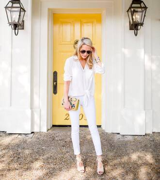 krystal schlegel blogger blouse jeans shoes jewels bag white jeans white top clutch aviator sunglasses white heels white pants all white everything casual friday all white outfit