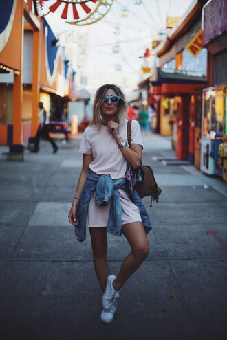 dress tumblr pink dress mini dress short sleeve dress summer dress summer outfits sneakers white sneakers low top sneakers sunglasses bag jacket denim jacket denim shoes
