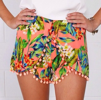 shorts print bright floral tumblr fluro orange peach summer pom pom shorts