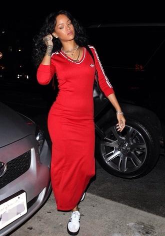 dress red dress red adidas rihanna red dress rihanna