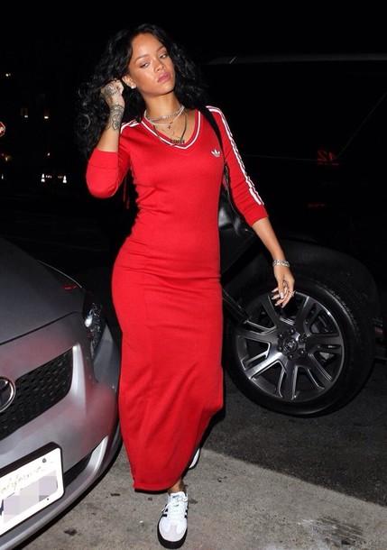 red adidas dress