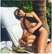 swimwear,monokini,one piece swimsuit,black swimwear,olivia culpo,instagram,summer