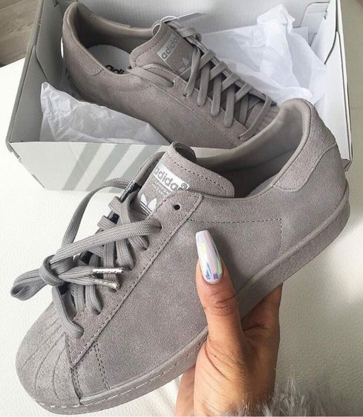 grey adidas superstars stripeless