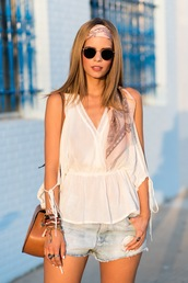 ms treinta,blogger,shorts,shoes,bag,sunglasses,white top,v neck,round sunglasses,denim shorts,shoulder bag,brown bag,scarf,rayban,peplum top,sleeveless top,stacked bracelets,bracelets