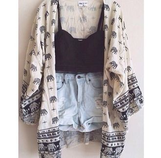 sweater cardigan oversized cardigan shorts denim crop tops black crop top denim shorts jacket tank top coat elephant shirt elephant hippie hipster spring beautiful top blouse