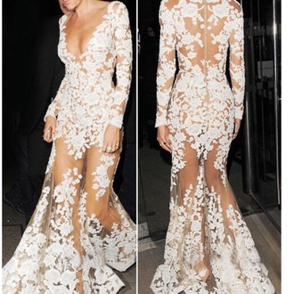 dress white dress flowers low back sheer