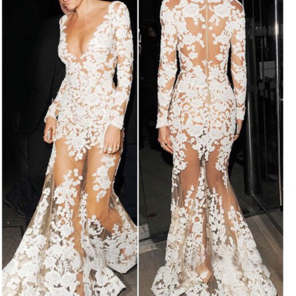 dress white dress flowers low back sheer