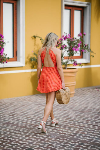 dress tumblr mini dress open back open back dresses backless dress backless summer dress sandals white sandals bag basket bag shoes