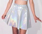skirt,holographic skirt,silver,holographic,grunge,alien,edc,skater skirt,cute,tumblr,pale