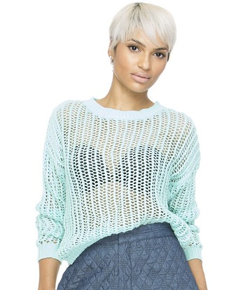 sweater cropped sweater blue blue sweater knitted sweater