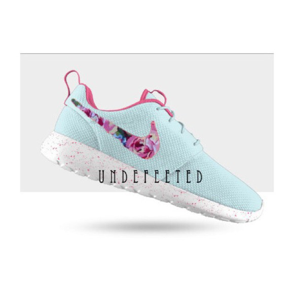 shoes blue white floral roshe runs, nikes, neon, floral tiffany blue nikes
