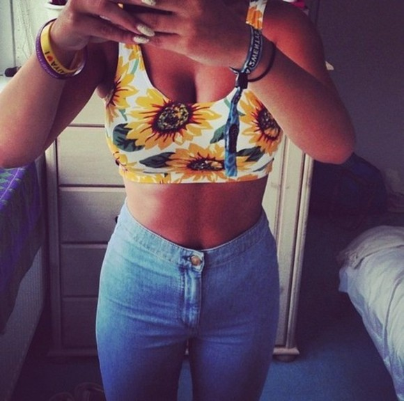 crop tops tank top tumblr clothes tumblr girly outfits tumblr from tumblr sunflower shirt sunflower, crop, t-shirt high waisted jeans summer outfits sunflower, blue, cute, full piece, original jeans pants denim highwaisted shorts vintage shirt