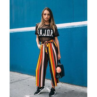 pants tumblr wide-leg pants striped pants stripes t-shirt black t-shirt mesh mesh top bag black bag fur keychain sneakers black sneakers nike nike shoes nike running shoes boho pants colorful